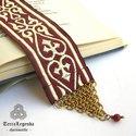 Könyvjelző - bordó arany szív motívumos díszszalag, réz chainmaille elemmel
