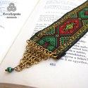 Könyvbarát könyvjelző - sokszínű, török szőnyeg motívumos díszszalag, réz chainmaille elemmel
