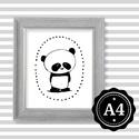 Illusztráció repró reprodukció nyomat print grafika festmény fekete fehér panda maci medve, Képzőművészet, Illusztráció, Grafika, Rajz, Babaváró ajándékot keresel, épp a gyerekszobát alakítod ki/át vagy dekorációt keresel?  Keretezhető ..., Meska