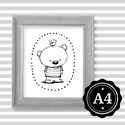 Illusztráció repró reprodukció nyomat print grafika festmény fekete fehér medve maci mackó, Képzőművészet, Baba-mama-gyerek, Grafika, Gyerekszoba, Babaváró ajándékot keresel, épp a gyerekszobát alakítod ki/át vagy dekorációt keresel?  Keretezhető ..., Meska