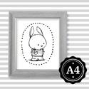 Illusztráció repró reprodukció nyomat print grafika festmény fekete fehér nyúl nyuszi, Képzőművészet, Illusztráció, Grafika, Rajz, Babaváró ajándékot keresel, épp a gyerekszobát alakítod ki/át vagy dekorációt keresel?  Keretezhető ..., Meska