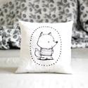 Párna - róka rókás - fekete fehér - FF - gyerekszoba - babaszoba - dekoráció, Limitált darabszámban, saját grafikával, texti...