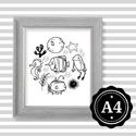 Illusztráció repró reprodukció nyomat print grafika festmény fekete fehér tengeri állatok, Képzőművészet, Illusztráció, Grafika, Rajz, Babaváró ajándékot keresel, épp a gyerekszobát alakítod ki/át vagy dekorációt keresel?  Keretezhető ..., Meska