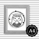 Illusztráció repró reprodukció nyomat print grafika festmény fekete fehér királylány, Képzőművészet, Baba-mama-gyerek, Grafika, Gyerekszoba, Babaváró ajándékot keresel, épp a gyerekszobát alakítod ki/át vagy dekorációt keresel?  Keretezhető ..., Meska