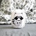 Párna - mosómedve - fekete fehér - FF - gyerekszoba - babaszoba - dekoráció, Limitált darabszámban, saját grafikával, texti...