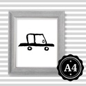 Illusztráció repró reprodukció nyomat print grafika festmény fekete fehér autó autós kocsi, Képzőművészet, Illusztráció, Grafika, Rajz, Babaváró ajándékot keresel, épp a gyerekszobát alakítod ki/át vagy dekorációt keresel?  Keretezhető ..., Meska