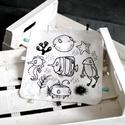 Rongyi - rongyikendő - szundi kendő - alvókendő - tengeri állatok - babaszoba, Baba-mama-gyerek, Játék, Baba játék, Plüssállat, rongyjáték, Varrás, Tengeri állatos rongyi saját mintámmal, szalagokkal. Hátsó oldala puha fehér frottír. Méret: kb. 25..., Meska