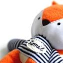 Egyedi róka figura kézzel hímzett névvel csíkos pulóverben Plüss játék Plüss figura Plüssróka, Róka figura kék-fehér csíkos frottír/plüss p...