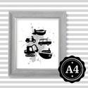 Illusztráció repró reprodukció nyomat print grafika festmény fekete fehér jármű autó hajó motor repülő markoló, Képzőművészet, Illusztráció, Grafika, Rajz, Fotó, grafika, rajz, illusztráció, Babaváró ajándékot keresel, épp a gyerekszobát alakítod ki/át vagy dekorációt keresel?  Keretezhető..., Meska