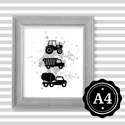Illusztráció repró reprodukció nyomat print grafika festmény fekete fehér jármű teherautó traktor, Képzőművészet, Illusztráció, Grafika, Rajz, Fotó, grafika, rajz, illusztráció, Babaváró ajándékot keresel, épp a gyerekszobát alakítod ki/át vagy dekorációt keresel?  Keretezhető..., Meska