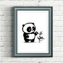 Panda illusztráció repró reprodukció nyomat print grafika festmény fekete fehér, Képzőművészet, Baba-mama-gyerek, Grafika, Gyerekszoba, Fotó, grafika, rajz, illusztráció, Babaváró ajándékot keresel, épp a gyerekszobát alakítod ki/át vagy dekorációt keresel?  Keretezhető..., Meska