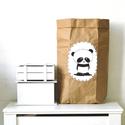 Papír tároló zsák Papírzsák Papírzacskó - Panda, Otthon, lakberendezés, Tárolóeszköz, Kézzel festett, erős, háromrétegű papírból készült tároló zsák. Teljes méret: 45x80x13 cm; a képeken..., Meska