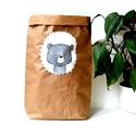 Papír tároló zsák Papírzsák Papírzacskó - Medve fej, Otthon, lakberendezés, Tárolóeszköz, Kézzel festett, erős, háromrétegű papírból készült tároló zsák. Teljes méret: 45x80x13 cm; a képeken..., Meska