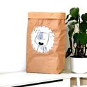 Papír tároló zsák Papírzsák Papírzacskó - Kutya, Otthon, lakberendezés, Tárolóeszköz, Kézzel festett, erős, háromrétegű papírból készült tároló zsák. Teljes méret: 45x80x13 cm; a képeken..., Meska