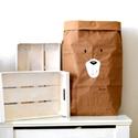 Papír tároló zsák Papírzsák Papírzacskó - Medve arc, Otthon, lakberendezés, Tárolóeszköz, Kézzel festett, erős, háromrétegű papírból készült tároló zsák. Teljes méret: 45x80x13 cm; a képeken..., Meska