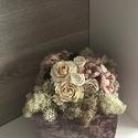 Rózsaszín asztali dekoráció, Dekoráció, Esküvő, Anyák napja, Esküvői dekoráció, 12x12x12 cm-es kocka alapon szárazvirágok. A termék teljes magassága kb. 17 cm., Meska