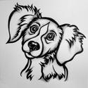 Kutya portré grafika  22 x 21 cm, Képzőművészet, Grafika, Rajz, Illusztráció, Festészet, Fotó, grafika, rajz, illusztráció, Ezt a kedves, vicces kutyus portrét fotó alapján készítettem, mesefiguraszerűre. Filctollat, és viz..., Meska