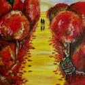 Vörös Park Akril festmény 50 x 70 cm, Képzőművészet, Festmény, Akril, Illusztráció, Festészet, Fotó, grafika, rajz, illusztráció,  Ezt a szép képet fejből festettem, akril festékkel, vastag, akvarell papírra. Egy pár halad a távo..., Meska