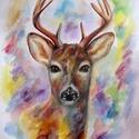 Fiatal Szarvas portré A4-es méret, Képzőművészet, Festmény, Grafika, Festmény vegyes technika, Festészet, Fotó, grafika, rajz, illusztráció, Ezt a fiatal szarvast fotó alapján készítettem anilyn festékkel és színes ceruzával, vastag akvarel..., Meska