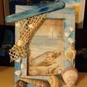 Nyári emlék, Otthon & Lakás, Dekoráció, Képkeret, Festett tárgyak, Fa képkeret, mely tengeri hangulatot áraszt. Hangulatos tengerparti képet tettem bele, de arra vár,..., Meska