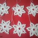 Horgolt hópehely , Dekoráció, Karácsonyi, adventi apróságok, Karácsonyfadísz, Horgolt hópehely(csillag) 6 darabos szettben, keményítve  Karácsonyfadíszként vagy ajándékkísérőként..., Meska