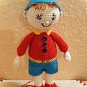 Noddy horgolt figura, Játék, Játékfigura, Noddy, horgolt mesefigura pamut fonalból készült,  szilikonizált poliészter golyócskákkal töltöttem,..., Meska