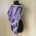 Nunonemez sál (lila1), Ruha, divat, cipő, Kendő, sál, sapka, kesztyű, Nunonemez selyem sál modern mintával.Elegáns kiegészítő egy kabáthoz,ruhához.Egyedi,saját t..., Meska