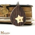 Csillag ékszergarnitúra, Ékszer, Ékszerszett, Csillagmintás medállal készült nyaklánc, hozzá illő pötty fülbevalóval.  Az ékszerekhez kétféle fábó..., Meska