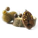 Barna fa ékszer szett - nyaklánc, fülbevaló, gyűrű, Ékszer, Nyaklánc, Őszi fa motívummal díszített medál, nemesacél láncra fűzve, hozzáillő gyűrűvel és francia kapcsos fü..., Meska