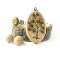 Natúr fa ékszer szett - nyaklánc, fülbevaló, gyűrű, Ékszer, Nyaklánc, Fa motívummal díszített medál, nemesacél láncra fűzve, hozzáillő gyűrűvel és pötty  fülbevalóval.  A..., Meska