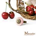 Cseresznye gyűrű betonból, Ékszer, Gyűrű, Eklektikus gyűrű született a modern beton, és az antik stílusú foglalat házasításából.  A betont apr..., Meska