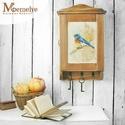 """Kulcstartó szekrény, kulcsos szekrény, kék madár, Otthon, lakberendezés, Tárolóeszköz, Doboz, Festett kék madár mintával díszített kulcstartó szekrény.   """"A kék madár"""" egy szép mese a boldogság ..., Meska"""