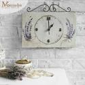 Falióra, vintage óra, levendulás, Kézzel festett levendulás mintával díszített,...