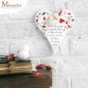 Házi áldás - Szív függő, Dekoráció, Ünnepi dekoráció, Karácsonyi, adventi apróságok, Karácsonyi dekoráció, Kézzel festett csipkebogyós mintával, és klasszikus házi áldással díszített szív. Akaszthatod ajtó, ..., Meska