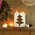 Téli fenyőfa karácsonyi mécsestartó szett, Otthon, lakberendezés, Karácsonyi, adventi apróságok, Karácsonyi dekoráció, Gyertya, mécses, gyertyatartó, Cseresznyefából fűrészelt mécsestartók.  A két fél együtt alkot egy egészet - összetolva egy fenyőfa..., Meska