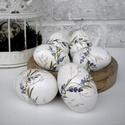 Húsvéti tojás, kézzel festett, Dekoráció, Húsvéti díszek, Ünnepi dekoráció, 6 darab, levendula mintával díszített húsvéti tojás.   A bükkfából esztergált tojásokat aprólékos mu..., Meska