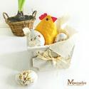 Húsvéti asztaldísz, Húsvéti díszek, Vidám hangulatú asztaldísz, bohém tyúkocskával, és kézzel festett fa tojásokkal.   A tyúkanyót pötty..., Meska
