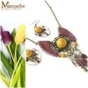 Virágos ékszerszett, Ékszer, Ékszerszett, A színpompás virágok ihlette ékszer szett, vibrálóan tavaszi lila és sárga összeállításban.   A fa e..., Meska