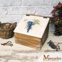 Teás doboz, szőlő, Otthon, lakberendezés, Konyhafelszerelés, Tárolóeszköz, Doboz, Kézzel festett szőlős mintával díszített teás doboz. Belsejében négy, tágas rekeszt találsz, amiben ..., Meska