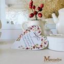 Csipkebogyó Szív függő jókívánsággal, Dekoráció, Karácsonyi, adventi apróságok, Ünnepi dekoráció, Karácsonyi dekoráció, Kézzel festett csipkebogyós mintával, és egy kedves jókívánság szövegével díszített szív függő. Akas..., Meska