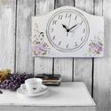 Vintage Falióra Rózsa, Otthon & lakás, Lakberendezés, Falióra, óra, Kézzel festett rózsás mintával díszített, vintage hangulatú falióra.  MÉRET: (külső):  35 cm x 25 cm..., Meska