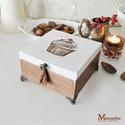 Csokis Muffin teás doboz, Otthon & lakás, Lakberendezés, Tárolóeszköz, Doboz, Kézzel festett muffin mintával díszített fadoboz, teás doboz  A kecses fémlábakon álló doboz belsejé..., Meska