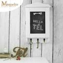 Kulcstartó szekrény, kulcsos szekrény, hófehér, Hófehérre festett, krétával írható kulcstart...
