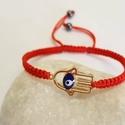 Védelem karkötő, Ékszer, Karkötő, Arany színű fatima keze összekötő elemből készítettem a karkötőt piros színű  shamballa ..., Meska