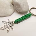 Cannabis   -  kulcstartó, Mindenmás, Kulcstartó, Cannabis levél medálból zöld színű zsinórral makramé csomózástechnikával készítettem a ..., Meska