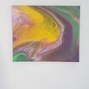 Akril festmény - absztrakt - Kitörés (pöttyözött), Dekoráció, Otthon, lakberendezés, Kép, Falikép, Egyedi készítésű vászonra készült akril festmény.  Méret: 30cm x 25cm, Meska