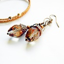 Makk Versailles-ból - üveggyöngy fülbevaló, Ékszer, Esküvő, Fülbevaló, Esküvői ékszer, Réz színeiben játszó kristályos üveggyöngy réz kupacsban - a makk eleganciája :)  A fülbev..., Meska