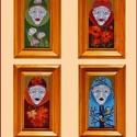 Négy évszak., Képzőművészet, Dekoráció, Kép, A zománc mérete: 200mmx100mm. A keret fa 25mm széles. Teljes mérete: 180mmx280mm. 4db kép., Meska