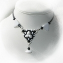 Black  white, Ékszer, Nyaklánc, Különleges  formájú porcelán gyöngyökből készült nyakék.A klasszikus fekete fehér színb..., Meska