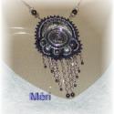 Nyakék kerámia medállal, Saját készítésű antik- ezüstös  kerámia me...